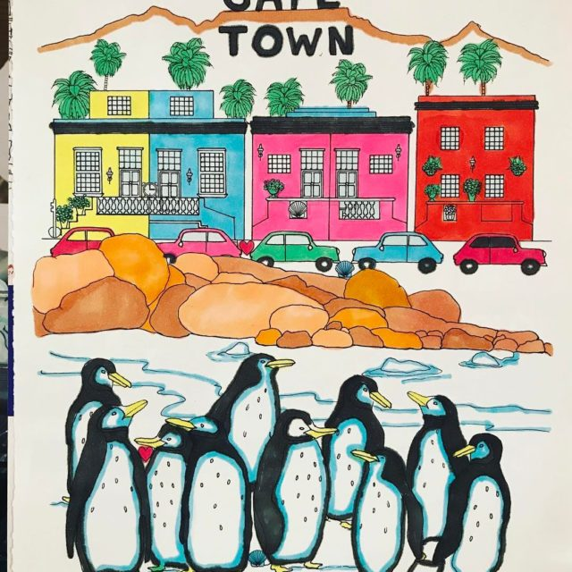 Colouring in picture cape town adultcoloringbook penguins