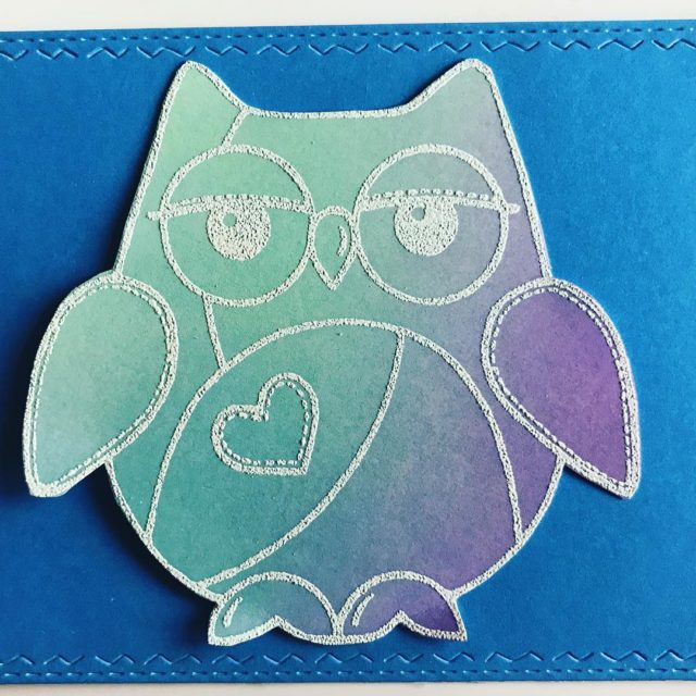 My first attempt with distress oxide inks oxideinks woodwarestamps owlhellip