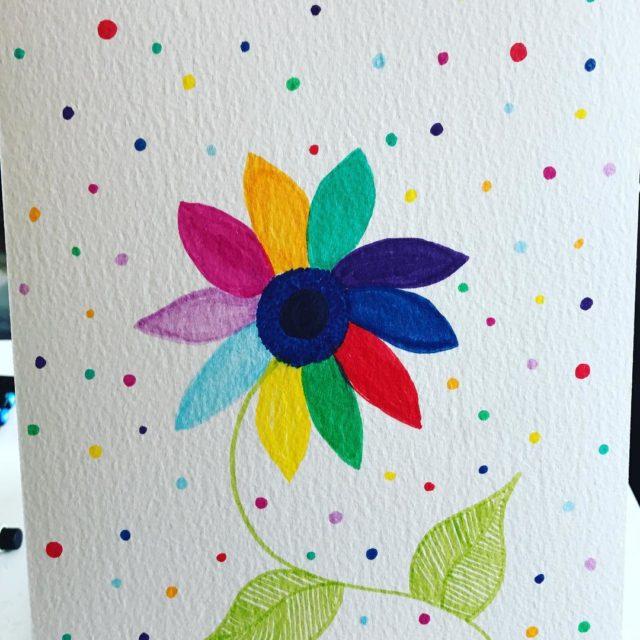 Rainbow flower using Faber Castell Pitt artist pens fabercastell fabercastellpitthellip