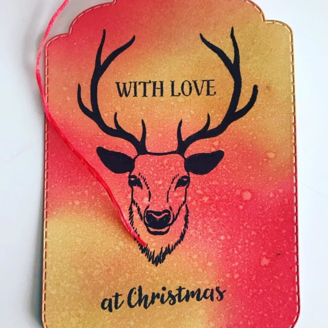 Christmas gift tag gifttags handmade stamping stag Christmas crafts craftinghellip